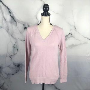 GAP pink waffle knit v neck long sleeve sweater